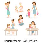 mother and daughter shopping ... | Shutterstock .eps vector #603498197