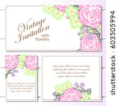 romantic invitation. wedding ... | Shutterstock . vector #603505994