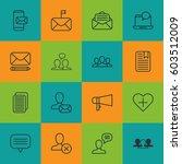 set of 16 social network icons. ... | Shutterstock .eps vector #603512009