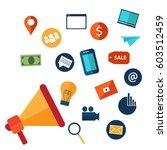 digital marketing and social... | Shutterstock .eps vector #603512459