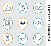 set of 9 social network icons.... | Shutterstock .eps vector #603513551