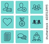 set of 9 social network icons.... | Shutterstock .eps vector #603513995