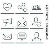 set of 9 social network icons.... | Shutterstock .eps vector #603516575
