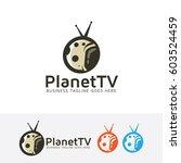 planet tv  vector logo template | Shutterstock .eps vector #603524459