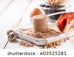 protein and ingredients on a... | Shutterstock . vector #603525281