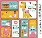 cute happy birthday stickers... | Shutterstock .eps vector #603528965