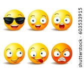 smiley face icons or yellow... | Shutterstock .eps vector #603533915