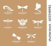 dragonfly logo vector... | Shutterstock .eps vector #603548981