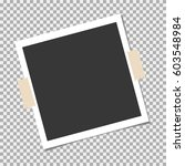 photo frame with sticky tape on ... | Shutterstock .eps vector #603548984