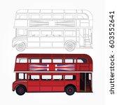 detailed red double decker bus... | Shutterstock .eps vector #603552641
