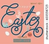 happy easter sale banner vector ... | Shutterstock .eps vector #603558725