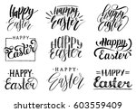 happy easter handwritten... | Shutterstock .eps vector #603559409