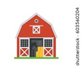 red horse barn vector... | Shutterstock .eps vector #603560204