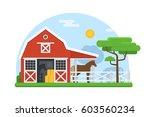 rural landscape of horse... | Shutterstock .eps vector #603560234