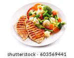 plate of grilled chicken with... | Shutterstock . vector #603569441