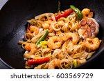 stir fried noodles with shrimps ... | Shutterstock . vector #603569729