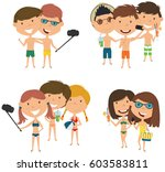 beach male and female... | Shutterstock .eps vector #603583811