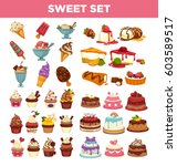 desserts and pastry cakes... | Shutterstock .eps vector #603589517