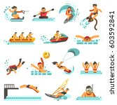 water sport activities vector... | Shutterstock .eps vector #603592841