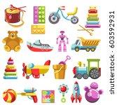 kid toys vector icons. children ... | Shutterstock .eps vector #603592931