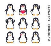emojis set  pinguin character   Shutterstock .eps vector #603596969