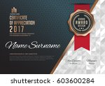 certificate template with... | Shutterstock .eps vector #603600284