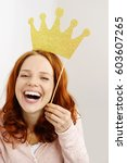 laughing happy pretty young... | Shutterstock . vector #603607265