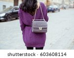 fashionable young woman in... | Shutterstock . vector #603608114