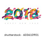 2018 happy new year greeting... | Shutterstock .eps vector #603610901