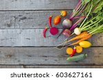 vegetables on wood. composition ... | Shutterstock . vector #603627161