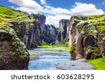 steep cliffs  overgrown with... | Shutterstock . vector #603628295