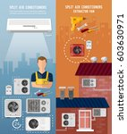 air conditioner installment and ... | Shutterstock .eps vector #603630971
