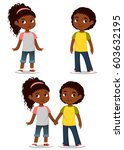 cute cartoon kids holding hands | Shutterstock .eps vector #603632195