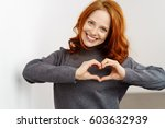 pretty romantic young redhead... | Shutterstock . vector #603632939