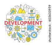seo and development icon set.... | Shutterstock .eps vector #603633959
