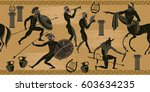 ancient greece scene seamless... | Shutterstock .eps vector #603634235