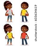 cute african american children | Shutterstock .eps vector #603634619