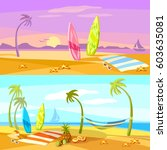 summer holiday sunset beach... | Shutterstock .eps vector #603635081