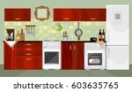 kitchen interior background... | Shutterstock .eps vector #603635765