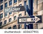 broadway written on a roadsign  ... | Shutterstock . vector #603637901
