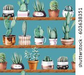 hand drawn various of cactus in ... | Shutterstock . vector #603638351