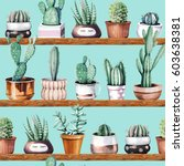 hand drawn various of cactus in ... | Shutterstock . vector #603638381