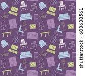 furniture seamless pattern.... | Shutterstock . vector #603638561