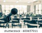 speaker's microphone in... | Shutterstock . vector #603657011
