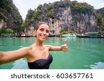 traveling in thailand. pretty... | Shutterstock . vector #603657761