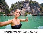 traveling in thailand. pretty... | Shutterstock . vector #603657761