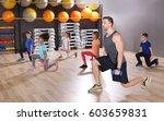 children at physical education... | Shutterstock . vector #603659831