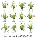 Stock vector vector set of twelve cartoon images of funny green microbes with one big eye with an antenna with 603660101