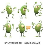 vector set of six cartoon... | Shutterstock .eps vector #603660125