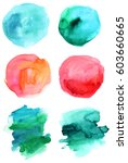 a set of abstract watercolour... | Shutterstock .eps vector #603660665